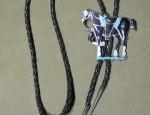 Inlaid Zuni Horse Bolo Tie