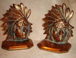 American Indian Chief's Head Bookends