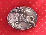 Susan Adams Waving Cowgirl Concho Buckle
