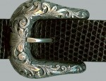(SOLD) Clint Orms – 1″ Sterling Buckle with Overlay