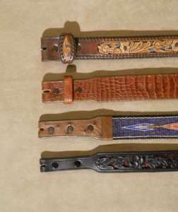"Top: Filigree belt with no taper. 2: Alligator belt with custom taper. 3: Horsehair belt with 1"" taper. Bottom: Filigree belt with 3/4"" taper."