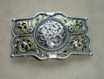 Clint Orms Filigree Gold and Sterling Buckle