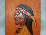 "Jack Neal – Wood Carved ""Indian With Bandana"""