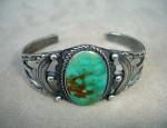 Navajo Ingot Bracelet With Oval Turquoise Stone