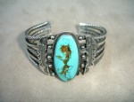 Heavy Twisted Wire Ingot Bracelet With Oval Turquoise Stone