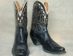 Vintage Nocona Black & Cream Boots With Yellow Stitching