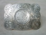 (sold) Large Starr's Silver Dollar Buckle
