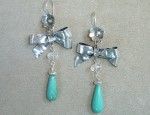 Susan Adams Bow & Turquoise Earrings