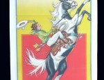 (Sold) Rodeo Cowgirl 3-Sheet Stone Lithograph