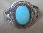 Fred Harvey Era Bracelet with Turquoise and Thunderbirds