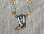 Dawn Bryfogle -Vintage Inlay Boot with Topaz drops, Sapphires and Sleeping Beauty Turquoise
