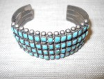 Zuni four-row bracelet with square stones, circa 1930.