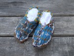 Arapaho Child's Moccasins Blue Background