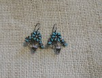 (Sold) Zuni Flower Pot Earrings Circa 1940-50