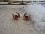In Stock – Susan Adams – 14kt and Ruby Horseshoe Earrings