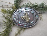 In Stock – Susan Adams – Sterling & Gold Turquoise Trimmed Oval Belt Buckle