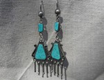 Turquoise Chandelier Earrings Circa 1940