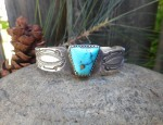 Stamped Bracelet with Turquoise