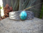 (Sold) Stamped Cuff with Turquoise
