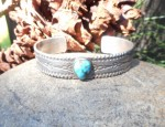 Stamped Ingot Bracelet with Turquoise