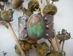 (Sold) Stamped Ingot Bracelet with Green Turquoise