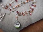 Dawn Bryfogle – Vintage Glass Pendant on Sapphires Necklace