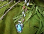 Dawn Bryfogle – Vintage Turquoise Pendant on Pearls Necklace