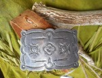 (Sold) Sun Face Stamped Buckle Circa 1940