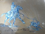 (Sold) Cowboy Roping Calf Gouache