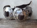 (Sold) – Margaret Sullivan – Silver and 14kt Concho Bracelet