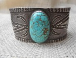 Early Stamped Navajo Cuff Bracelet with Turquoise
