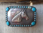 (Sold) – Navajo Square Turquoise Horse Themed Buckle