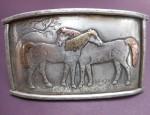 (SOLD) Margaret Sullivan – Sterling and 14kt Gold Horses Buckle