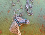 (SOLD) Margaret Sullivan – Sterling, Gold, and Turquoise Horse Pendant