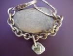 Margaret Sullivan – Sterling and 14kt Gold Heart Charm on Chunky Bracelet