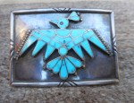 Zuni Buckle with Raised Thunderbird Inlay