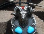 Big Rams Head Bolo Tie