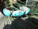 Five Stone Turquoise Bracelet on Twisted Wire
