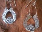 Margaret Sullivan – Silver Good Luck Rose Earrings