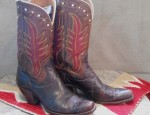 Brown and Red Hyer Boots