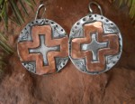 Margaret Sullivan – Sterling and Copper Disc Cross Earrings